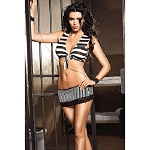 Prisoner of Love Costume Set Bra Top Wrist Cuffs Hat Convict Jail Lingerie 8671